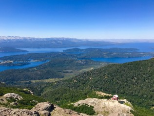 Overlooking lakes of Bariloche and Refugio Lopez from the summit of Cerro Lopez