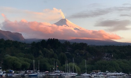 Volcan Villarica overlooking Lago Villarica at sunset
