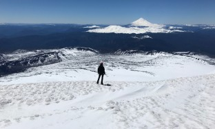Overlooking Volcan Lanin from the summit of Volcan Villarica