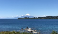 View of Volcan Osorno from the beach along Lake Llanquihue