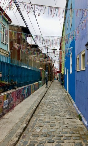 Colorful ribbon alley en route to Happies not Hippies street art