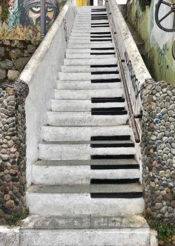 Famous Piano Stairs leading up to lookout atop Cerro Alegre