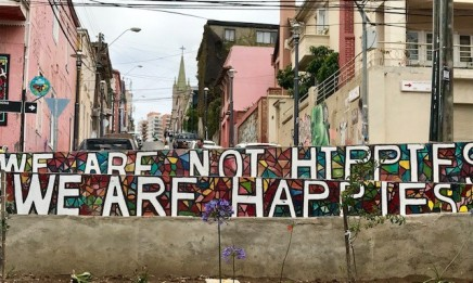 """We are not Hippies, We are Happies"" street art neear Cerro Alegre"